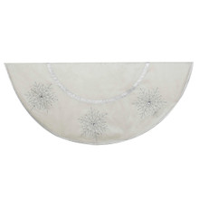 Bring a wintry look to your holiday decoration with this 54-in Ivory Tree skirt with Crystal Lace Snowflakes from Kurt Adler. Its all-white design is accented by beautifully-detailed crystal lace snowflakes for an extra festive touch.