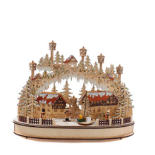 The 16.5-in B/O musical LED village house table piece from Kurt Adler is a beautiful addition to your holiday collection. The table piece features wooden houses, forest of snowy Christmas trees, kids playing in the snow and street lamps. The clear LED lights up the entire piece including the forest and street lamps.