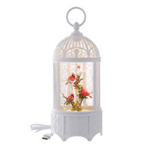This 10.25-in B/O LED Swirl Cardinals in Water Bird Cage from Kurt Adler is a fun and festive addition to any holiday decoration. The birdcage features several cardinals perched on a branch. When switched on, it also illuminates from within with lighting.