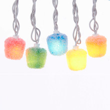 Add some delight to your holiday with the multi-Colored LED candy lite set from Kurt Adler. The lite set features multi-Colored candy drops with white coatings hanging from white wires.