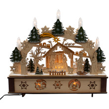 This 11-in B/O Light-Up Wooden Nativity Scene with Candles from Kurt Adler is a beautiful, detailed way to add to your Christmas decoration while being reminded of the true meaning of Christmas.