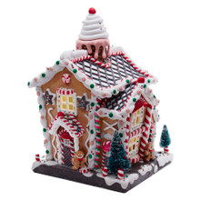 This 14-in B/O Light-Up Gingerbread House from Kurt Adler is a fun, festive way to add to your holiday decoration! This gingerbread house-style decoration has beautifully bright, colorful detailing, including white icing and frosting, gum drops, candy canes, peppermint candies and gingerbread men.