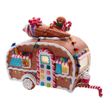 This 8.4-in B/O Light-Up Gingerbread Food Truck from Kurt Adler is a sweet addition to any home decoration. This gingerbread camper features candy accents, an ice cream cone topped roof, and a playful gingerbread man.