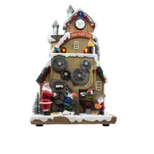 This 12-in B/O LED Santa's Workshop with Turning Train Table Piece from Kurt Adler is a great addition to any holiday decoration