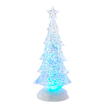 This 10-in B/O LED Lit Tree with Water Table Piece from Kurt Adler is a modern addition to your holiday decoration! This table piece features a crystal-inspired tree with star tree topper. When switched on, the RGB LED light illuminates the tree for a multicolor effect.