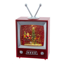 This 8.5-in B/O Musical Water TV with Santa and Sleigh from Kurt Adler features a scene of Santa on his sled, being pulled by a reindeer. The red, classic television base gives the scene a retro look. The perfect addition to any retro-themed holiday decoration!