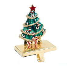 Hang your stocking by the chimney in style! This all-metal stocking hanger features an elegant Christmas tree design in a green, red, white and gold color scheme, complete with red and white ornaments and gold garland. Festively wrapped presents underneath the tree.