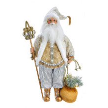 This 18-in Kringle Klaus White and Gold Santa from Kurt Adler is a fun and festive addition to any holiday decoration. Part of the Kringle Klaus collection, Santa is featured here wearing a white and gold coat with intricate detailing and matching hat. In one hand is a staff, and in his other hand is a sack filled with Christmas decoration.