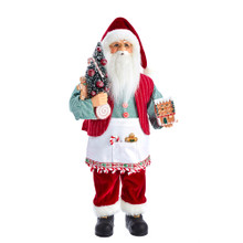 This 18-in Kringle Klaus Santa and Gingerbread House from Kurt Adler is a fun and festive addition to any holiday decoration. Part of the Kringle Klaus collection, Santa is featured here wearing a white apron ready to show off his baking creation. In one hand is a decorated Christmas tree, and in his other hand is a gingerbread house.
