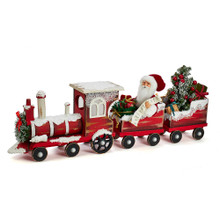This 30.5-in Kringle Klaus Santa On Train from Kurt Adler is a fun and festive addition to any holiday decoration. Part of the Kringle Klaus collection, Santa is featured sitting in a train set wearing his traditional red and white coat and hat. The train set includes a decorated wreath in front of the locomotive and two passenger cars. Each car is filled with presents and Christmas decoration.