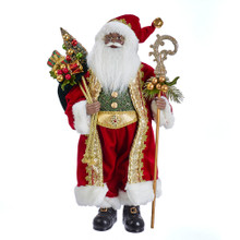 This 18-in Kringle Klaus African American Santa from Kurt Adler is a fun and festive addition to any holiday decoration. Part of the Kringle Klaus collection, Santa is featured wearing a regal red and white coat with matching hat. In one hand is a staff, and in his other hand is a sack of gifts.