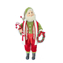This 36-in Kringle Klaus Elf with Wreath from Kurt Adler is a fun and festive addition to any holiday decoration. Part of the Kringle Klaus collection, the elf is featured wearing a green button-up shirt with matching hat. Draped around his neck is a red scarf. In one hand is a decorated Christmas wreath, and in his other hand is a candy cane.