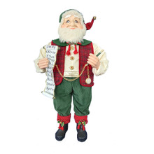 This 36-in Kringle Klaus Red and Green Elf with List from Kurt Adler is a fun and festive addition to any holiday decoration. Part of the Kringle Klaus collection, the elf is wearing green corduroy pants with a white button up shirt. To keep him warm is a red plaid vest, held together with a pocketwatch. In one hand is a scroll with the names of all the good boys and girls, and in his other hand is a pencil.