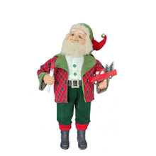 This 36-in Kringle Klaus Red and Green Elf with Toy Car from Kurt Adler is a fun and festive addition to any holiday decoration. Part of the Kringle Klaus collection, the elf is wearing green pants with red cuffs and a red-and-green argyle print sherling lined coat. In one hand is a painted toy car, and in his other hand is a paint brush.