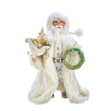 This 18-in Kringle Klaus Winter White Santa from Kurt Adler is a fun and festive addition to any holiday decoration. Part of the Kringle Klaus collection, Santa is featured here in a brown textured coat with fur lining and matching hat. In one hand is a ribbon decorated Christmas wreath, and in the other hand is a sack filled with Christmas decoration.