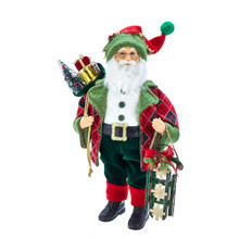 This 18-in Kringle Klaus Red and Green Santa and Gifts from Kurt Adler is a fun and festive addition to any holiday decoration. Part of the Kringle Klaus collection, Santa is featured here in a red and blue argyle print coat with green interior and matching hat. In one hand is a toy sled, and in the other hand is a sack filled with toys.