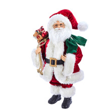 This 18-in Kringle Klaus Red and Green and White Santa from Kurt Adler is a fun and festive addition to any holiday decoration. Part of the Kringle Klaus collection, Santa is featured here in his traditional red and white suit. Slung over his shoulder is a sack filled with presents.