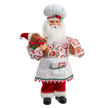 This 17-in Kringle Klaus Gingerbread Santa Baker from Kurt Adler is a fun and festive addition to any holiday decoration. Part of the Kringle Klaus collection, Santa is featured wearing an apron and chef hat, holding a gingerbread man and gingerbready house. The perfect addition to any sweet-themed holiday decoration!