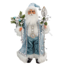 This 17-in Kringle Klaus Blue and White Santa with Staff and Bag from Kurt Adler is a fun and festive addition to any holiday decoration. Part of the Kringle Klaus collection, Santa is featured wearing a blue robe with white trimmings. His robe is adorned with silver swirl detailing complete with matching hat with bell. In his left hand is a silver staff with stars and slung over his right shoulder is a sack overfilling with Christmas goods.