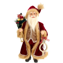 This 16-in Kringle Klaus Burgundy Fur Santa with Bag and Gifts from Kurt Adler is a fun and festive addition to any holiday decoration. Part of the Kringle Klaus collection, Santa with his cheery smile is featured here wearing a red and burgundy fur suit. In one hand he holds an ornament with crystal and sequin detailing and the other holds a sack filled with presents for all the good girls and boys!
