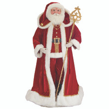 This 72-in Kringle Klaus Elegant Santa with Staff from Kurt Adler is a fun and festive addition to any holiday decoration. Part of the Kringle Klaus collection, this life-sized Santa is featured wearing his traditional red-and-white Santa suit with matching hat with gold bell detailing. In his gloved hand is a golden staff embellished with gems.