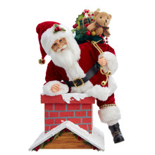 This 16-in Kringle Klaus Chimney Santa from Kurt Adler is a fun and festive addition to any holiday decoration. Part of the Kringle Klaus collection, Santa is featured in his traditional red-and-white suit complete with black belt and matching hat. Santa's hat has a holly berry accent and gold bell. Slung over his should is a sack overflowing with presents. He is gettting ready to climb down the chimney to deliver presents!