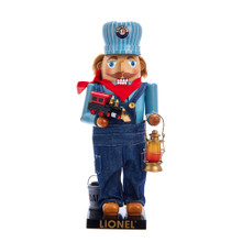 This Lionel© Conductor Nutcracker from Kurt Adler is the perfect addition to the holiday decoration or collection of any Lionel© fan, or nutcracker collector! This intricately detailed nutcracker features a Lionel© conductor's hat and overalls. In one hand he is holding a lantern, and in the other hand is a toy locomotive.