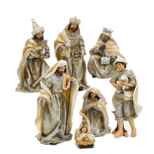 Celebrate and remember the true meaning of Christmas with this 3-11.25-in Resin Nativity Table Piece Set from Kurt Adler. This piece features characters from the nativity scene in intricate detail. Figures include, the Holy Family, the Three Wise Men, and a shepard. A classic way to remember the true meaning of Christmas.