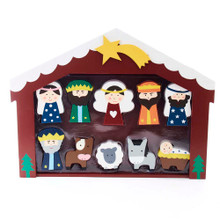 This 2-3-in Wooden Children's Nativity Set with Stable and 10 Figures from Kurt Adler is a beautiful, detailed way to add to your Christmas decoration while being reminded of the true meaning of Christmas. This set of 10 figurines features the Holy Family, the Three Wise Men, an angel, a donkey, a cow, and a sheep inside their stable. The perfect addition to any holiday decoration!