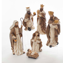 This 13-in Glittered Nativity 6-Piece Set from Kurt Adler is a beautiful, detailed way to add to your Christmas decoration while being reminded of the true meaning of Christmas. This set includes the Holy Family and the Three Wise Men. Each piece in the set is encased in glitter for a faux snow effect.