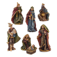 This 3.5-in Resin Nativity 7-Piece Set from Kurt Adler is a beautiful, detailed way to add to your Christmas decoration while being reminded of the true meaning of Christmas. This set of 9 loose figurines features the Holy Family, the Three Wise Men, and a shepherd.