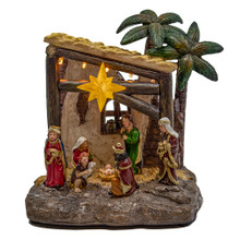This 8-in B/O LED Light-Up Nativity Scene from Kurt Adler is a beautiful, detailed way to add to your Christmas decoration while being reminded of the true meaning of Christmas. When switched on, the lights on the stable light up. This set of 9 loose figurines features the Holy Family, the Three Wise Men, a shepherd and a stable. Perfect for celebrating the true meaning of Christmas