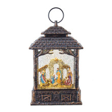 This 11-in B/O LED Nativity Scene Water Lantern from Kurt Adler is a charming addition to any holiday decoration. This lantern features the nativity scene with swirling glitter dancing around the scene. When switched on, the lights go on and the glitter swirls for a snowy effect.