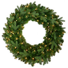 Complete your holiday decoration with this Kurt Adler 30-in Pre-Lit Garfield Wreath! Perfect for hanging on the door and greeting your guests, this classic green wreath features 390 tips, and contains 100 clear incandescent lights to signal the entry-point to your home. But this wreath is not only for the outside of your front door, you may also hang it anywhere inside the home!