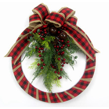 This 18-in Fabric Red Plaid Wreath with Foliage from Kurt Adler is a stunning addition to any holiday decoration. Features a wreath made of buffalo plaid ribbon, topped with a bow and foliage with red berries. The perfect addition to your holiday decoration!