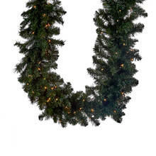 This Kurt Adler pre-lit Vanderbilt garland is a beautiful, festive way to add to your holiday decoration. Perfect for mantles or any large area of your home that needs a little extra holiday cheer. This 9-ft garland features 280 tips and 100 clear UL-approved lights.