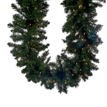"""This Kurt Adler 9'x18"""" Vanderbilt Garland is a beautiful, festive way to add to your holiday decoration. Perfect for mantles or any large areas of your home in need of a little extra holiday cheer, this garland has 320 tips for a full, realistic design, and is pre-lit with 100 clear always-lit UL lights."""