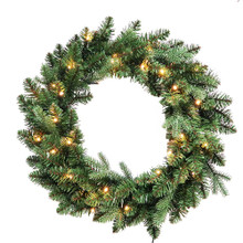 This 24-in B/O Warm White LED Jackson Wreath from Kurt Adler is the perfect addition to your holiday decoration. This wreath comes pre-lit with 30 warm white LED lights, the perfect addition to doors or other areas of your home in need of a little extra dash of holiday cheer.