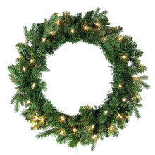 This 24-in Pre-Lit Clear Jackson Pine Wreath from Kurt Adler is the perfect addition to your holiday decoration. This wreath comes pre-lit with 35 clear incandescent lights, the perfect addition to doors or other areas of your home in need of a little extra dash of holiday cheer.