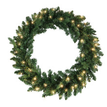 This 30-in B/O Warm White LED Jackson Wreath from Kurt Adler is the perfect addition to your holiday decoration. This wreath comes pre-lit with 60 warm white LED lights, the perfect addition to doors or other areas of your home in need of a little extra dash of holiday cheer.