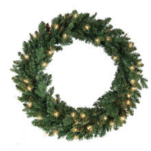 This 30-in Pre-Lit Clear Jackson Pine Wreath from Kurt Adler is the perfect addition to your holiday decoration. This wreath comes pre-lit with 50 clear incandescent lights, the perfect addition to doors or other areas of your home in need of a little extra dash of holiday cheer.