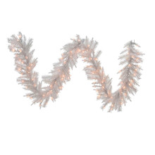 This Kurt Adler 9-ft pre-lit crystal white garland is a unique, festive way to add to your holiday decoration. Perfect for a little extra holiday cheer, this garland has snowy white coloring, a full, thick design with 200 tips and is pre-lit with 100 clear lights.