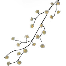 Add to your holiday lighting and decoration with this 6-ft Green Garland with 48 Warm White Rose Lights from Kurt Adler. Each of the 48 rose light covers in this set has a beautifully realistic look, and is lit from within by a steady-burning warm white UL approved light. Each set comes with a UL adapter, a 196-in lead wire, and an end connector. You may connect up to three light sets to this garland.