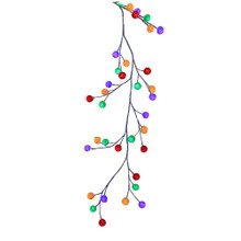 Celebrate the holidays in style with this 6-ft white garland with multiColored cotton balls from Kurt Adler. The lights are surrounded by multiColored cotton balls and each hangs from white branches. This festive garland is pre-lit by 48 multi-color LED lights and includes a 3m lead wire, end connector and UL IP44 adapter.