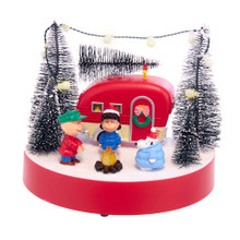 This 7-in B/O Peanuts© Musical Camper Scene Table Piece from Kurt Adler is a fun, festive way to add to your holiday decoration or display! This table pieces features a scene with Charlie Brown, Lucy van Pelt, and Snoopy around a campfire by their camper. 7 lights adorn the trees overlooking the camper and the piece plays the Peanuts© theme song.