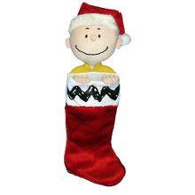 This Peanuts© Charlie Brown plush head stocking by Kurt Adler is a wonderful addition to any holiday decoration! Features a classic red and white stocking with Charlie Brown wearing a Santa hat peeking out the top. The plush white cuff features the same black zigzag as on Charlie Brown's shirt.