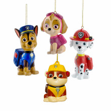 This 3-in - 3.5-in Paw Patrol Blow Mold Ornament Set of 4 from Kurt Adler is a fun and festive addition to any holiday decoration! Perfect for fans of Nick Jr.'s Paw Patrol, this ornament set includes Skye, Marshall, Chase, and Rubble, each beautifully detailed in blow mold plastic.