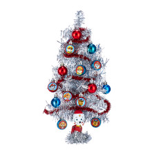 The Paw Patrol miniature tinsel Christmas tree set from Kurt Adler is a great Christmas gift for Paw Patrol fans and collectors. The sparkling silver tree can be decorated with the multi-Colored ornaments designed with images of Paw Patrol characters and silver tinsel garland. The tree stands on a metallic silver base which Marshall sits on.