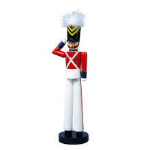"This Kurt Adler 15"" Wooden Rockettes Nutcracker is a fun, festive way to add to your holiday decoration and to have a piece of the Radio City Christmas Spectacular in your home! This nutcracker represents one of the lovely Radio City Rockettes dressed as a wooden soldier, with the red, white, black and yellow uniform, topped with a white feather. There is eyelash, lipstick, and rosy-cheek detailing in the face of this saluting Rockette."