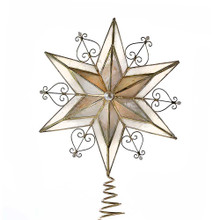 Add the perfect finishing touch to your Christmas tree with this 11-in Capiz Scroll Star treetop from Kurt Adler. Its double 6-point star design has a smoked capiz effect with faux pearl accents and a brass plated finish. Its coil base attaches securely to the top of your tree.
